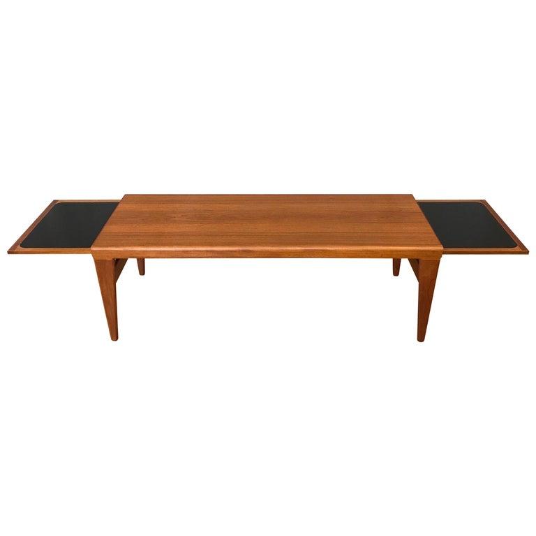 Teak Extendable Coffee Table: Kai Kristiansen For FM Møbler Extendable Teak Coffee Table