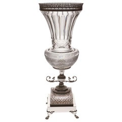 Crystal Vase with Bronze Covered with Platinum, Oriental-Style