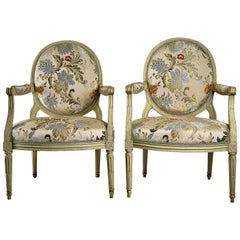 French Louis XVI Period, Lacquered Beechwood Pair of Large Armchairs, circa 1780
