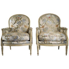 French Louis XVI Period, Lacquered Beech-Wood Pair of Large Bergeres, circa 1780