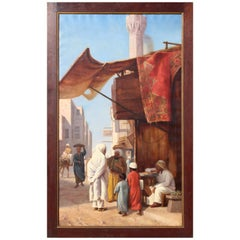 1970s Hand Painted Orientalist Oil on Canvas with Wooden Frame