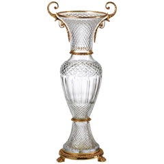 Large Clear Crystal Vase with 22-Carat Gold Covered Bronze, Oriental Style