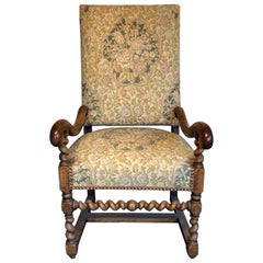 Sale 19th Century French Throne High Back Needlepoint Louis XIV Style Armchair