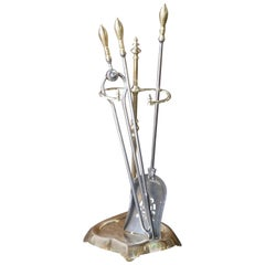 Antique Polished Brass and Steel Fire Tool Set and Stand, 19th Century