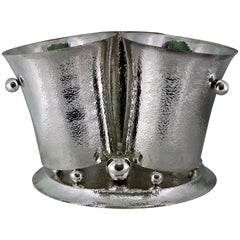19th Century Artistic Hammered Art Deco Silver Wine Cooler, Italy, 1930s