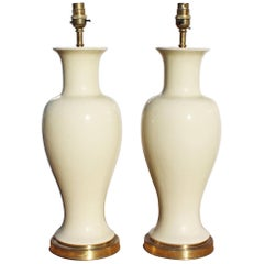 "1970s Pair of English White Ceramic Table Lamps Signed ""Mehorney"""
