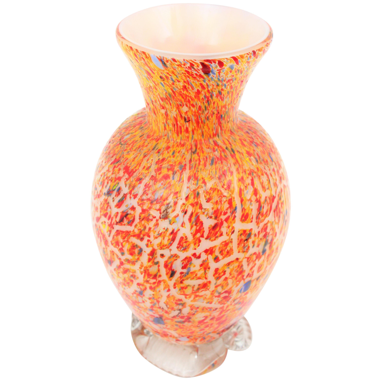 Murano Textured Italian Art Multi-Color Confetti Glass Vase, Italy, 1960s