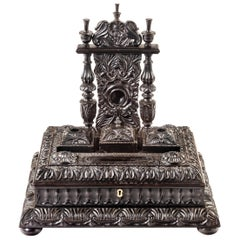 William IV Anglo Indian Solid Ebony Pen Tray