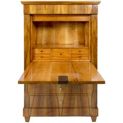 19th Century Biedermeier Walnut Secretaire