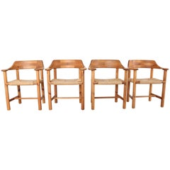 Set of 4 Rainer Daumiller Dining Armchairs in Solid Pinewood and Papercord Seat