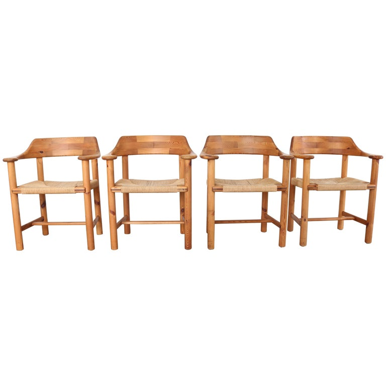 Set of 4 Rainer Daumiller Dining Armchairs in Solid Pinewood and Papercord Seat For Sale