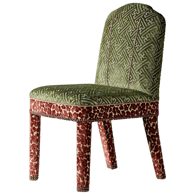 And Objects Abbas Dining Chair, Fully Upholstered in Pink & Green Velvet For Sale