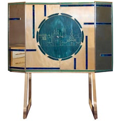 Mid-Century Modern Dry Bar in Wood, Brass & Engraved Emerald Green Murano Glass