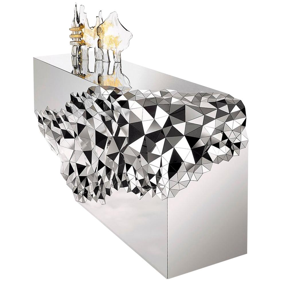 Geometric Console Table in Mirror Polished Steel, Stellar by Jake Phipps
