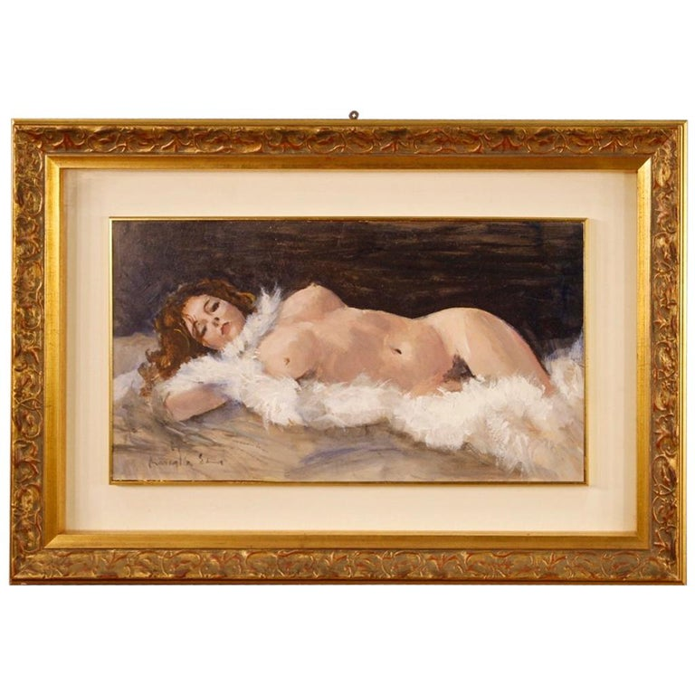 20th Century Mixed-Media on Cardboard Signed Female Nude Italian Painting, 1970