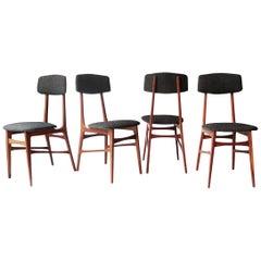 Midcentury Brown Grey Rosewood Wool Italian Chairs, 1950