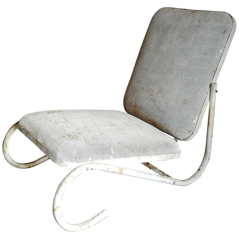 Midcentury White Metal Garden Lounge Chair For