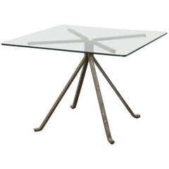 """Cugino"" Tempered Glass and Steel Table by Enzo Mari for Driade, circa 1973"