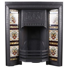 Antique Victorian Tiled Fireplace Grate, English, 19th Century