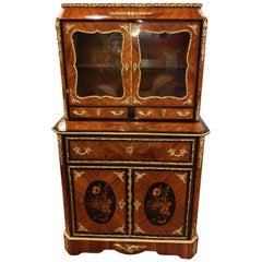 19th Century Napoleon III Ebony Rosewood Inlaid France Cabinet Desk, 1850s