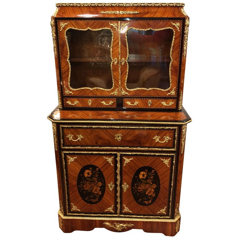 19th Century Napoleon III Ebony Rosewood Inlaid France Cabinet Desk, 1850s For Sale