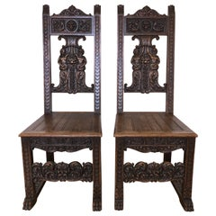 Pair of Rustic Carved Wood Renaissance Style Italian Side Chairs