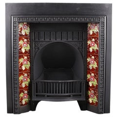 Antique Victorian Cast Iron Fireplace Insert, Late 19th Century