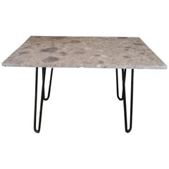 Marble and Black Steel Console Table