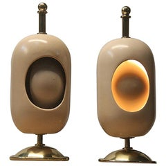 Pair of Oval Table Lamp Midcentury Italian Design Brass Gold Ceramic Eclipse