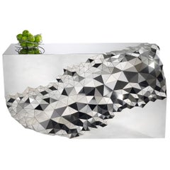 "Geometric Console Table in Mirror Polished Steel -  ""Stellar"" by Jake Phipps"