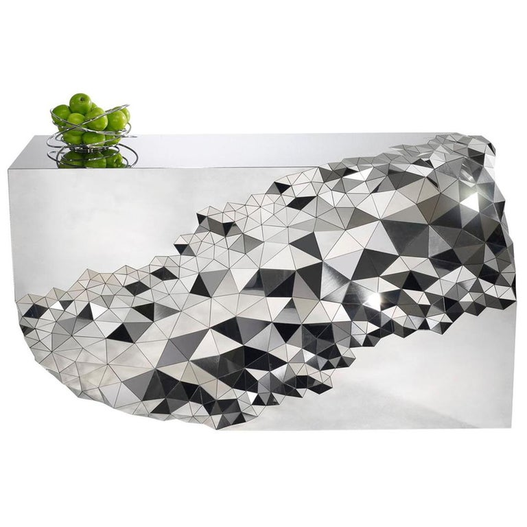 "Geometric Console Table in Mirror Polished Steel -  ""Stellar"" by Jake Phipps For Sale"