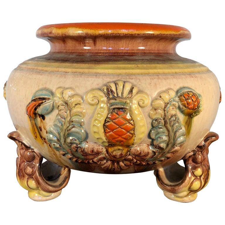 Handmade Majolica German Ceramic Planter Bowl Centrepiece Jardinière Pot For Sale