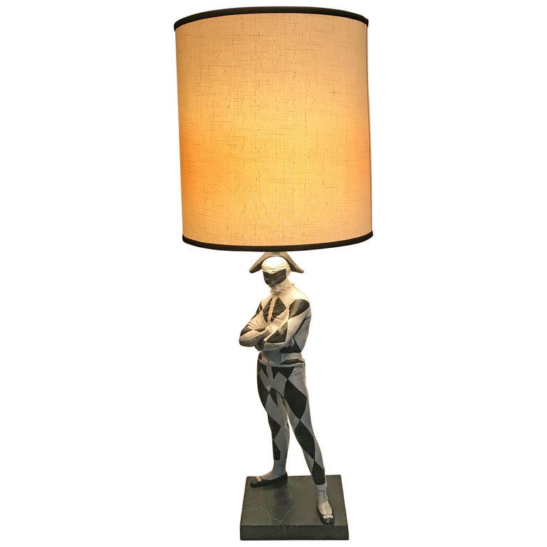 """Large Mid-Century Modern Plaster Lamp """"Court Jester"""" by G.W. Hamilton For Sale"""