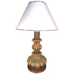 Italian Hand Painted Carved Wood Table Lamp, Midcentury, circa 1980