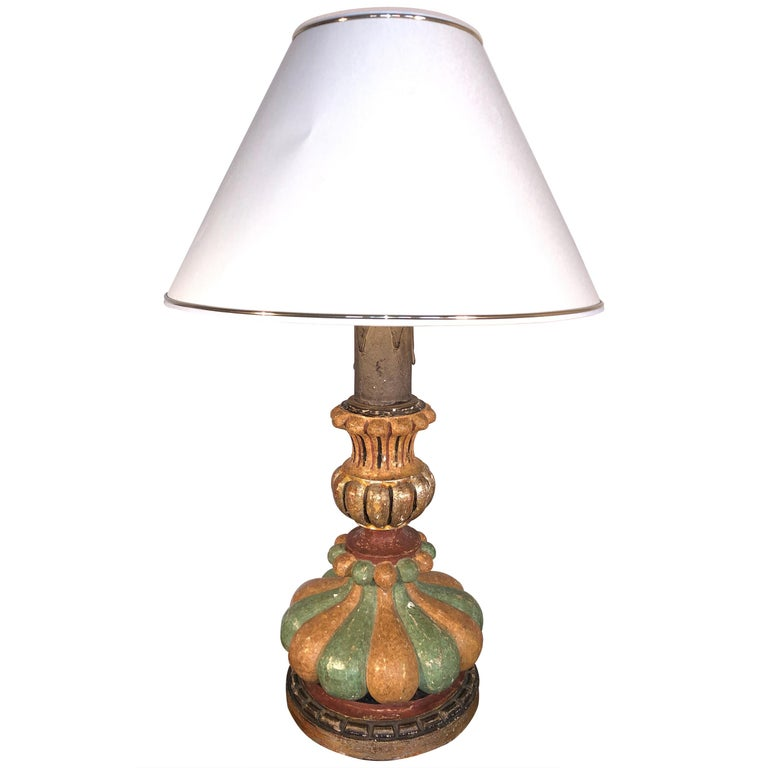 Italian Hand Painted Carved Wood Table Lamp, Midcentury, circa 1980 ON SALE  For Sale