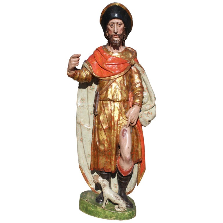 16th Century Spanish Gilded Painted Wood Sculpture of Saint Roch For Sale