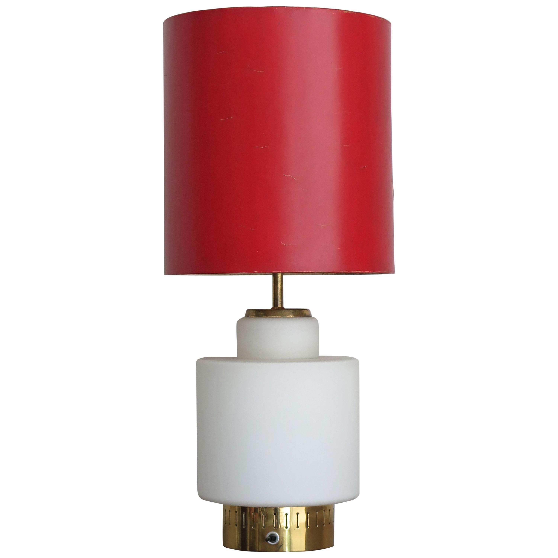 Stilnovo Italian Mid-Century Modern Design Red Glass Table Lamp, 1950s