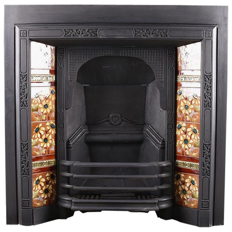 Antique Edwardian Art Nouveau Fireplace Insert, circa 1905 For Sale