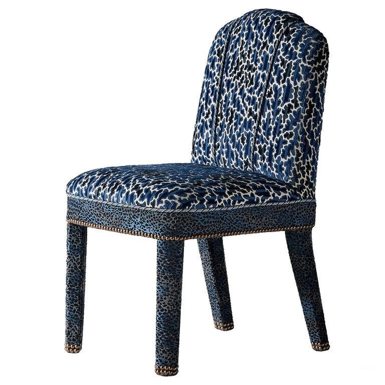 And Objects Abbas Dining Chair, Fully Upholstered in Indigo Blue Velvet For Sale