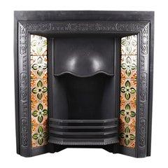 Antique Late Victorian Art Nouveau Tiled Register Grate