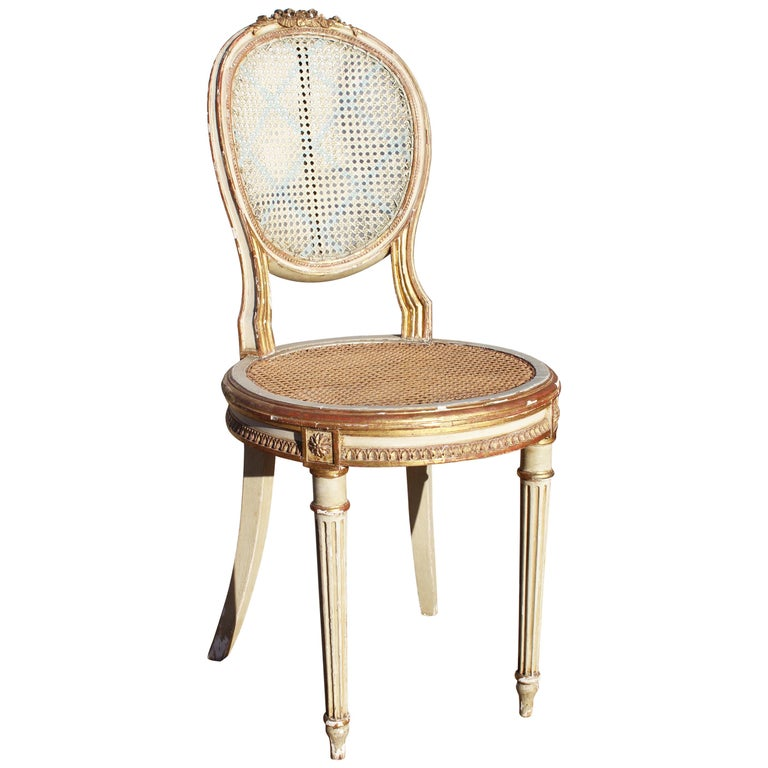 19th Century French Neoclassical Cane Back Chair For Sale