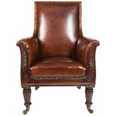 Late Regency Mahogany Armchair of Neoclassical Design with Leather Upholstery