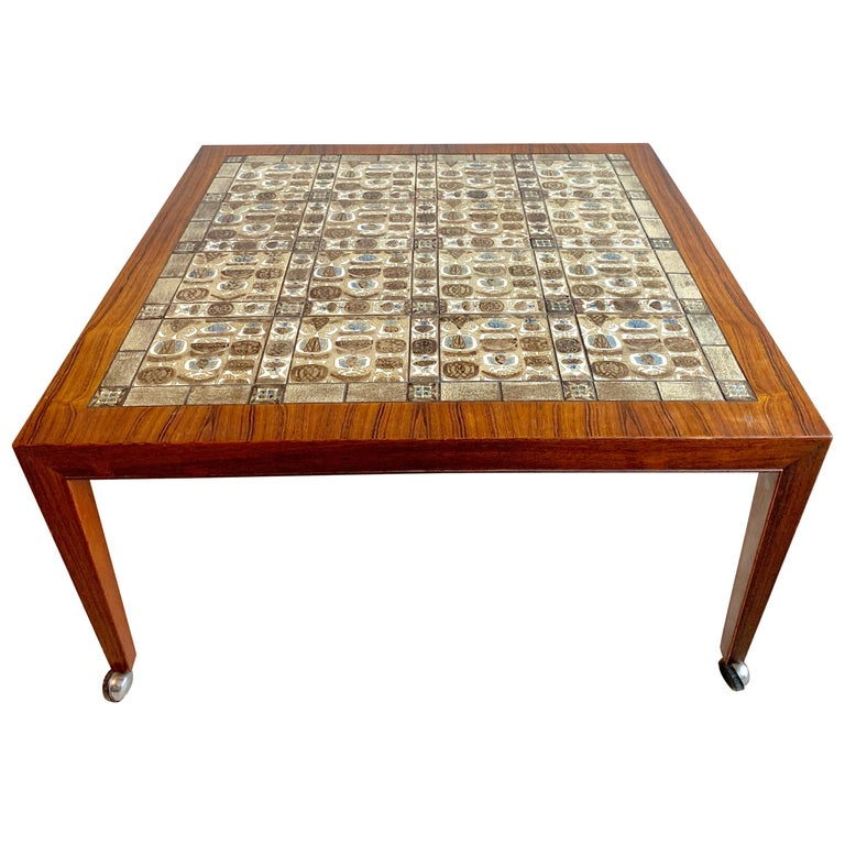 Severin Hansen Jr. Baca Tile Top Coffee Table in Rosewood For Sale