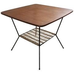 Midcentury Scandinavian Teak and Rattan Table