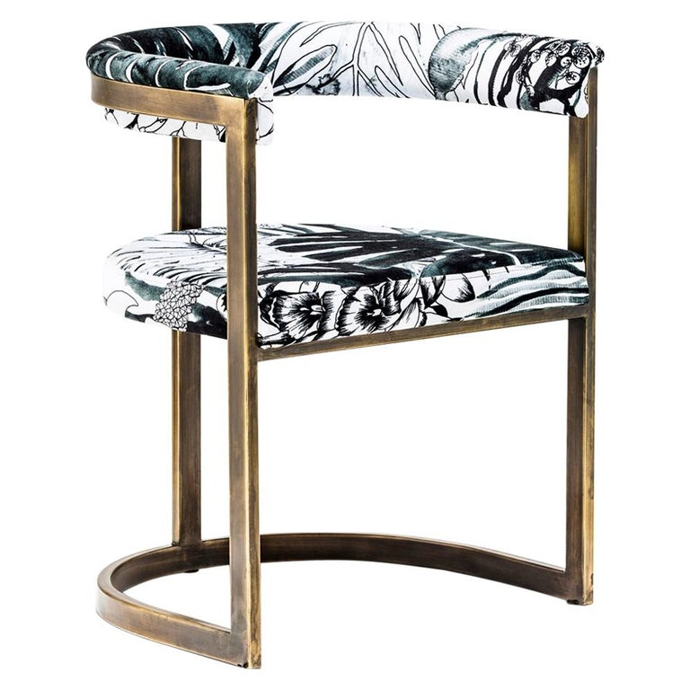 Bronzed Steel with Christian Lacroix Fabric, Modern Dining Chair by Egg Designs For Sale