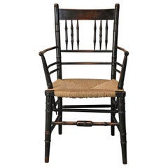 Late 19th Century Ebonized Sussex Armchair Attributed to Morris & Co