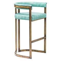 Bronzed Steel and Vinyl Contemporary Bar Stool by Egg Designs