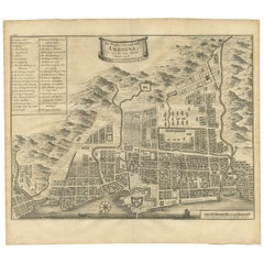 Antique Map of the City of Ambon by Valentijn, 1726