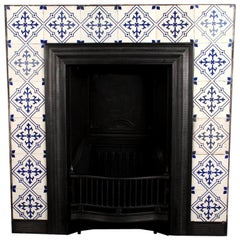 Antique Victorian Tiled Cast Iron Fireplace Insert, English 19th Century