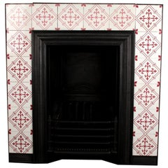 Antique Victorian Original Minton Tiles Fireplace Insert, English, 19th Century